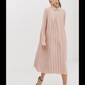 ASOS pink long sleeve button down pleated dress